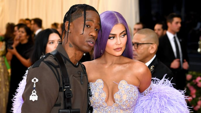NEW YORK, NEW YORK - MAY 06: Travis Scott (L) and Kylie Jenner attend The 2019 Met Gala Celebrating Camp: Notes on Fashion at Metropolitan Museum of Art on May 06, 2019 in New York City. (Photo by Dimitrios Kambouris/Getty Images for The Met Museum/Vogue)