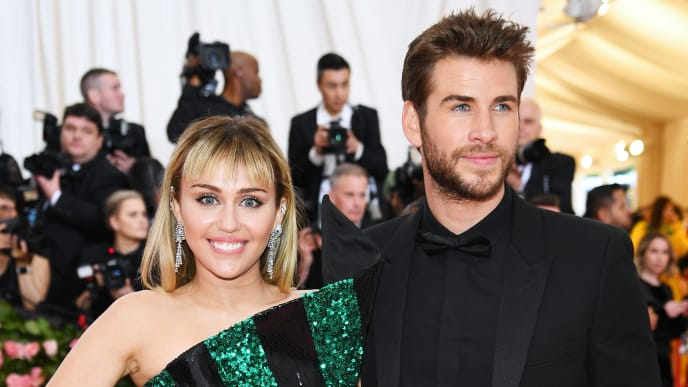 NEW YORK, NEW YORK - MAY 06: Miley Cyrus and Liam Hemsworth attend The 2019 Met Gala Celebrating Camp: Notes on Fashion at Metropolitan Museum of Art on May 06, 2019 in New York City. (Photo by Dimitrios Kambouris/Getty Images for The Met Museum/Vogue)