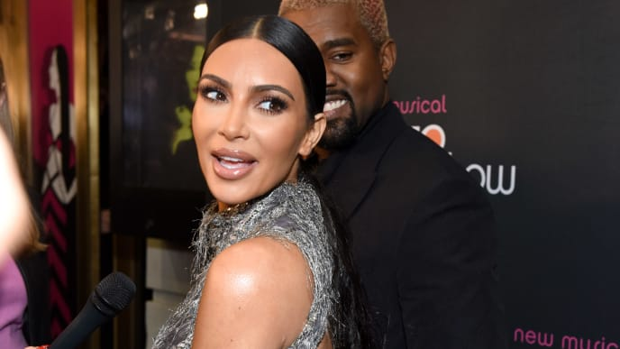 "NEW YORK, NEW YORK - DECEMBER 03: Kim Kardashian West and Kanye West arrive at ""The Cher Show"" Broadway Opening Night at Neil Simon Theatre on December 03, 2018 in New York City. (Photo by Jenny Anderson/Getty Images for The Cher Show )"