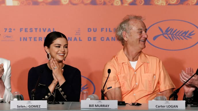 """CANNES, FRANCE - MAY 15: (L-R) Tilda Swinton, Selena Gomez, Bill Murray and Carter Logan attend the press conference for """"The Dead Don't Die"""" during the 72nd annual Cannes Film Festival on May 15, 2019 in Cannes, France. (Photo by John Phillips/Getty Images)"""