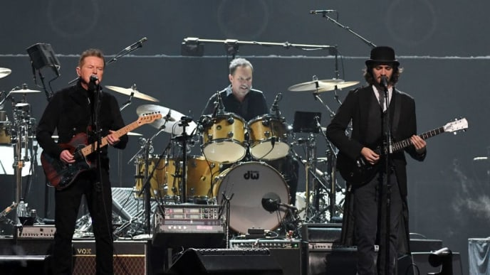 LAS VEGAS, NEVADA - SEPTEMBER 27:  (L-R) Don Henley of the Eagles performs with Scott F. Crago and Deacon Frey at MGM Grand Garden Arena on September 27, 2019 in Las Vegas, Nevada.  (Photo by Ethan Miller/Getty Images)