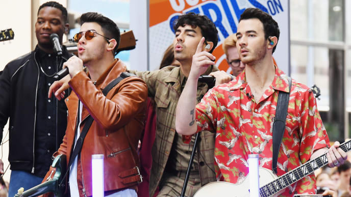"""NEW YORK, NEW YORK - JUNE 07: The Jonas Brothers Perfom On NBC's """"Today"""" at Rockefeller Plaza on June 07, 2019 in New York City. (Photo by Nicholas Hunt/Getty Images)"""