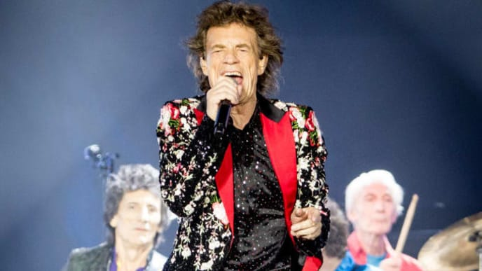 MIAMI, FLORIDA - AUGUST 30: (L-R) Ronnie Wood, Mick Jagger, Keith Richards and Charlie Watts of The Rolling Stones perform onstage at Hard Rock Stadium on August 30, 2019 in Miami, Florida. (Photo by Rich Fury/Getty Images)