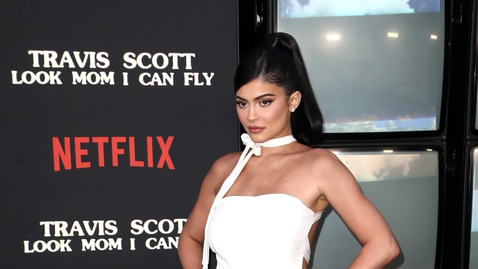 """SANTA MONICA, CALIFORNIA - AUGUST 27: Kylie Jenner attends the Travis Scott: """"Look Mom I Can Fly"""" Los Angeles Premiere at The Barker Hanger on August 27, 2019 in Santa Monica, California. (Photo by Tommaso Boddi/Getty Images for Netflix)"""