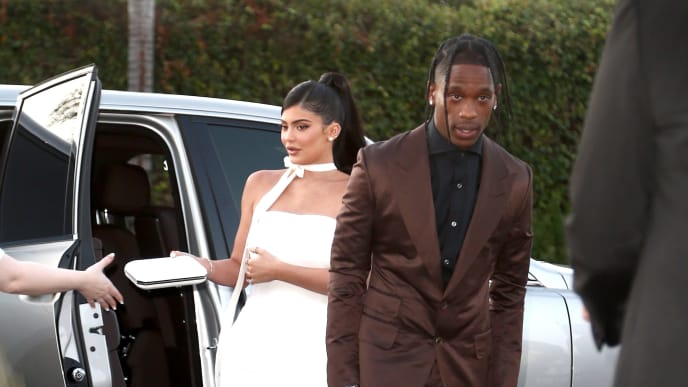"""SANTA MONICA, CALIFORNIA - AUGUST 27: Kylie Jenner and Travis Scott attend the Travis Scott: """"Look Mom I Can Fly"""" Los Angeles Premiere at The Barker Hanger on August 27, 2019 in Santa Monica, California. (Photo by Tommaso Boddi/Getty Images for Netflix)"""