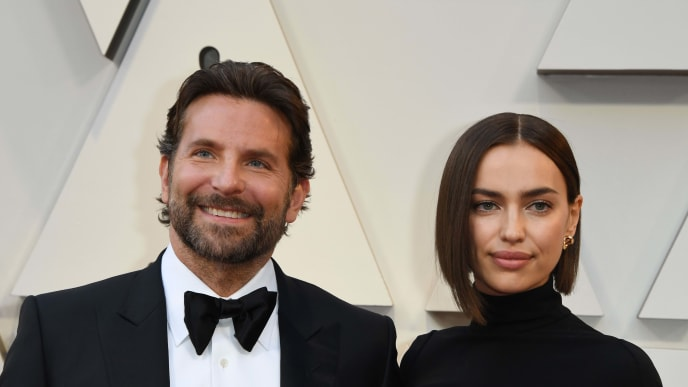 "Best Actor nominee for ""A Star is Born"" Bradley Cooper (L) and his wife Russian model Irina Shayk arrive for the 91st Annual Academy Awards at the Dolby Theatre in Hollywood, California on February 24, 2019. (Photo by Mark RALSTON / AFP)        (Photo credit should read MARK RALSTON/AFP/Getty Images)"