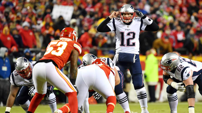 KANSAS CITY, MISSOURI - JANUARY 20: Tom Brady #12 of the New England Patriots gestures in the first half against the Kansas City Chiefs during the AFC Championship Game at Arrowhead Stadium on January 20, 2019 in Kansas City, Missouri. (Photo by Peter Aiken/Getty Images)