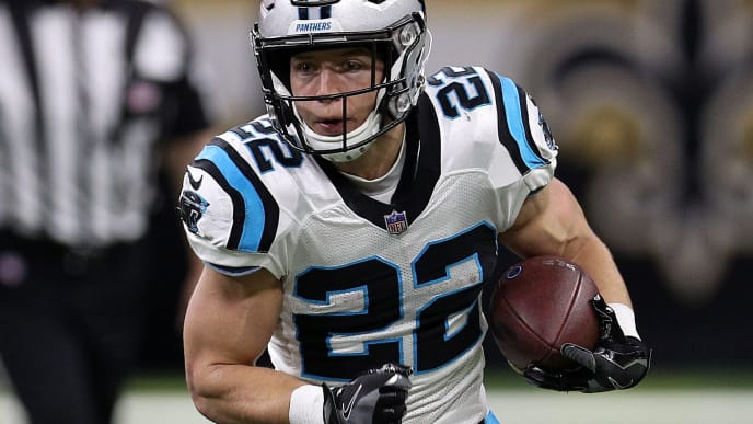 NEW ORLEANS, LOUISIANA - DECEMBER 30: Christian McCaffrey #22 of the Carolina Panthers runs with the ball during the first half against the New Orleans Saints at the Mercedes-Benz Superdome on December 30, 2018 in New Orleans, Louisiana. (Photo by Chris Graythen/Getty Images)