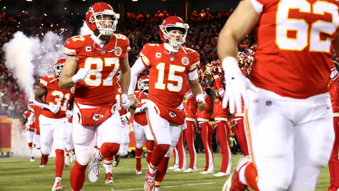 KANSAS CITY, MISSOURI - JANUARY 20: Patrick Mahomes #15 of the Kansas City Chiefs runs onto the field prior to the AFC Championship Game against the New England Patriots at Arrowhead Stadium on January 20, 2019 in Kansas City, Missouri. (Photo by Jamie Squire/Getty Images)