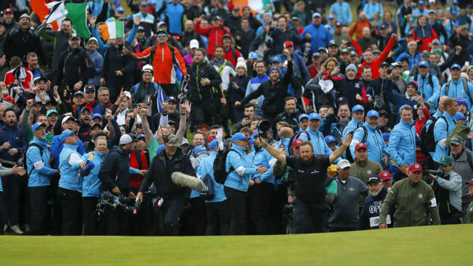 PORTRUSH, NORTHERN IRELAND - JULY 21: Open Champion Shane Lowry of Ireland celebrates on the 18th green during the final round of the 148th Open Championship held on the Dunluce Links at Royal Portrush Golf Club on July 21, 2019 in Portrush, United Kingdom. (Photo by Kevin C. Cox/Getty Images)