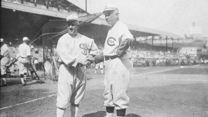 CINCINNATI - OCTOBER 1, 1919.  Managers Kid Gleason of the Chicago White Sox, left, and Pat Moran of the Cincinnati Reds meet before game one of the 1919 World Series in Cincinnati on October 1, 1919.  (Photo by Mark Rucker/Transcendental Graphics, Getty Images)