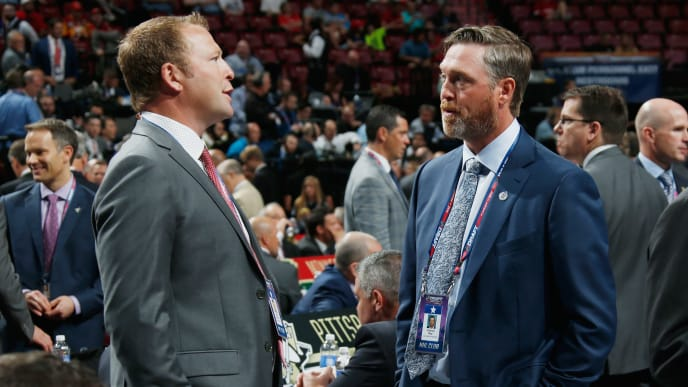 SUNRISE, FL - JUNE 26: Martin Brodeur of the St. Louis Blues and Patrick Roy of the Colorado Avalanche attend the 2015 NHL Draft at BB&T Center on June 26, 2015 in Sunrise, Florida.  (Photo by Bruce Bennett/Getty Images)