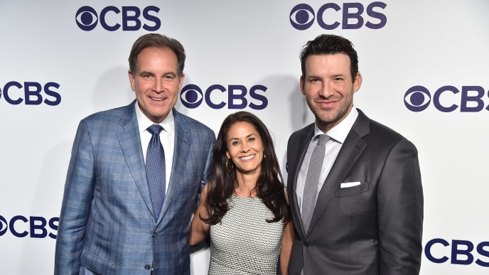 NEW YORK, NY - MAY 17:  Jim Nantz, Tracy Wolfson and Tony Romo attend the 2017 CBS Upfront on May 17, 2017 in New York City.  (Photo by Theo Wargo/Getty Images)
