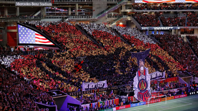 ATLANTA, GA - DECEMBER 08:  A general view of  Mercedes-Benz Stadium during the National Anthem of the 2018 MLS Cup between Atlanta United and the Portland Timbers on December 8, 2018 in Atlanta, Georgia.  (Photo by Kevin C. Cox/Getty Images)