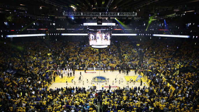 OAKLAND, CA - MAY 31:  Pregame ceremonies take place prior to Game 1 of the 2018 NBA Finals between the Golden State Warriors and the Cleveland Cavaliers at ORACLE Arena on May 31, 2018 in Oakland, California. NOTE TO USER: User expressly acknowledges and agrees that, by downloading and or using this photograph, User is consenting to the terms and conditions of the Getty Images License Agreement.  (Photo by Ezra Shaw/Getty Images)