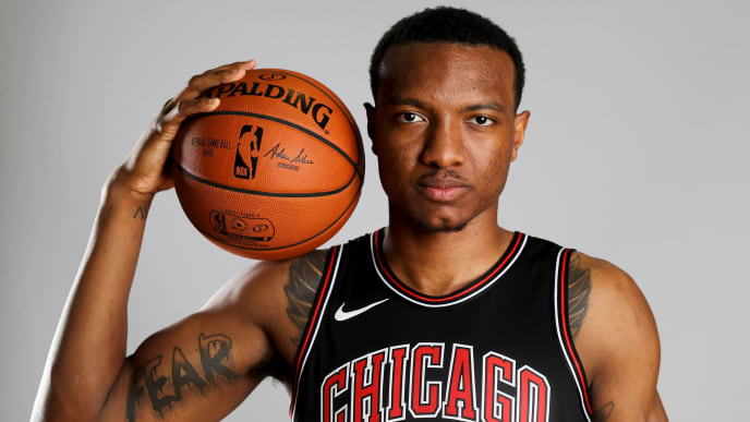 TARRYTOWN, NY - AUGUST 12:  Wendell Carter Jr. of the Chicago Bulls poses for a portrait during the 2018 NBA Rookie Photo Shoot at MSG Training Center on August 12, 2018 in Tarrytown, New York.NOTE TO USER: User expressly acknowledges and agrees that, by downloading and or using this photograph, User is consenting to the terms and conditions of the Getty Images License Agreement.  (Photo by Elsa/Getty Images)