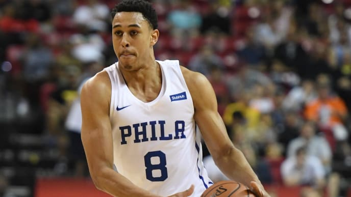 LAS VEGAS, NV - JULY 06:  Zhaire Smith #8 of the Philadelphia 76ers brings the ball up the court against the Boston Celtics during the 2018 NBA Summer League at the Thomas & Mack Center on July 6, 2018 in Las Vegas, Nevada. The Celtics defeated the 76ers 69-63. NOTE TO USER: User expressly acknowledges and agrees that, by downloading and or using this photograph, User is consenting to the terms and conditions of the Getty Images License Agreement.  (Photo by Ethan Miller/Getty Images)