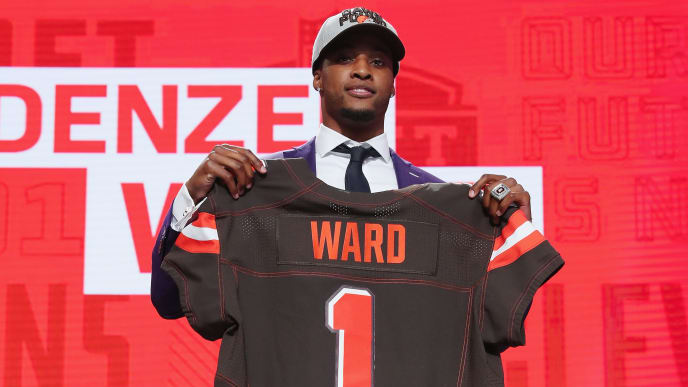 ARLINGTON, TX - APRIL 26:  Denzel Ward of Ohio State poses after being picked #4 overall by the Cleveland Browns during the first round of the 2018 NFL Draft at AT&T Stadium on April 26, 2018 in Arlington, Texas.  (Photo by Tom Pennington/Getty Images)