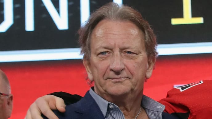 DALLAS, TX - JUNE 22: Eugene Melnyk attends the first round of the 2018 NHL Draft at American Airlines Center on June 22, 2018 in Dallas, Texas.  (Photo by Bruce Bennett/Getty Images)