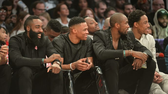 LOS ANGELES, CA - FEBRUARY 17:  (L-R) James Harden, Russell Westbrook, Serge Ibaka and DeMar Derozan attend the 2018 Verizon Slam Dunk Contest at Staples Center on February 17, 2018 in Los Angeles, California.  (Photo by Kevork Djansezian/Getty Images)