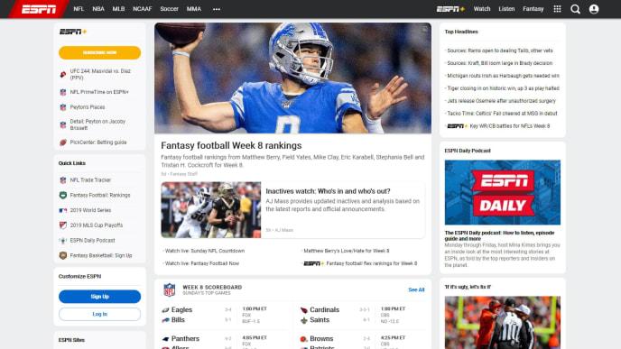Screencap of ESPN.com, 11:55 AM, October 27, 2019