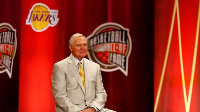 SPRINGFIELD, MASSACHUSETTS - SEPTEMBER 06: Jerry West looks on during the 2019 Basketball Hall of Fame Enshrinement Ceremony at Symphony Hall on September 06, 2019 in Springfield, Massachusetts. (Photo by Omar Rawlings/Getty Images)