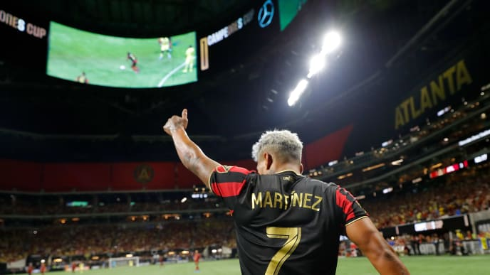 ATLANTA, GEORGIA - AUGUST 14:  Josef Martinez #7 of Atlanta United reacts against Club America during the final of the Campeones Cup between Club America and Atlanta United at Mercedes-Benz Stadium on August 14, 2019 in Atlanta, Georgia. (Photo by Kevin C. Cox/Getty Images)