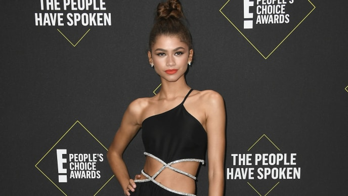 SANTA MONICA, CALIFORNIA - NOVEMBER 10: Zendaya attends the 2019 E! People's Choice Awards at Barker Hangar on November 10, 2019 in Santa Monica, California. (Photo by Frazer Harrison/Getty Images)