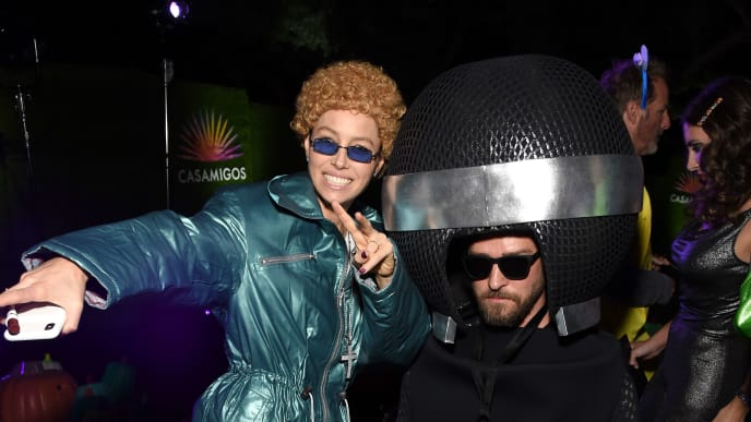 BEVERLY HILLS, CALIFORNIA - OCTOBER 25: Jessica Biel and Justin Timberlake attends the 2019 Casamigos Halloween Party on October 25, 2019 at a private residence in Beverly Hills, California. (Photo by Michael Kovac/Getty Images for Casamigos)