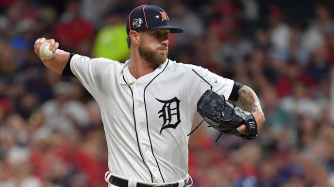 CLEVELAND, OHIO - JULY 09: Shane Greene #61 of the Detroit Tigers participates in the 2019 MLB All-Star Game at Progressive Field on July 09, 2019 in Cleveland, Ohio. (Photo by Jason Miller/Getty Images)