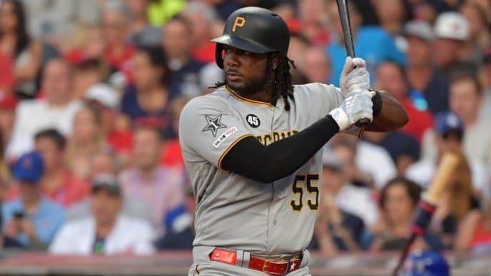 CLEVELAND, OHIO - JULY 09: Josh Bell #55 of the Pittsburgh Pirates participates in the 2019 MLB All-Star Game at Progressive Field on July 09, 2019 in Cleveland, Ohio. (Photo by Jason Miller/Getty Images)