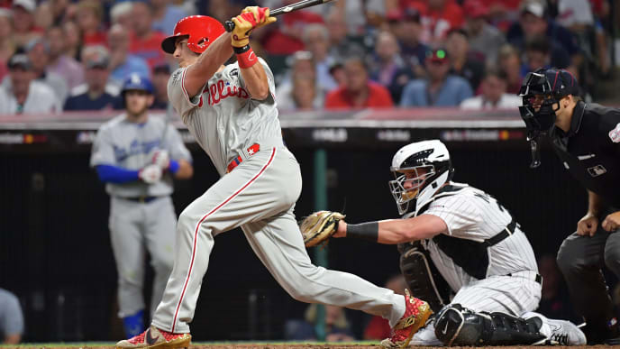 CLEVELAND, OHIO - JULY 09: J.T. Realmuto #10 of the Philadelphia Phillies during the 2019 MLB All-Star Game at Progressive Field on July 09, 2019 in Cleveland, Ohio. (Photo by Jason Miller/Getty Images)