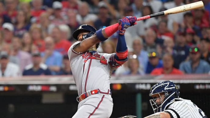 CLEVELAND, OHIO - JULY 09: Ronald Acuna Jr. #13 of the Atlanta Braves participates in the 2019 MLB All-Star Game at Progressive Field on July 09, 2019 in Cleveland, Ohio. (Photo by Jason Miller/Getty Images)