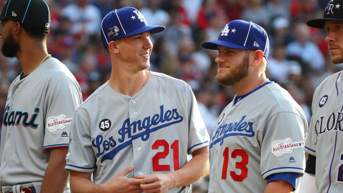 CLEVELAND, OHIO - JULY 09: Walker Buehler #21 and Max Muncy #13 of the Los Angeles Dodgers during the 2019 MLB All-Star Game at Progressive Field on July 09, 2019 in Cleveland, Ohio. (Photo by Gregory Shamus/Getty Images)
