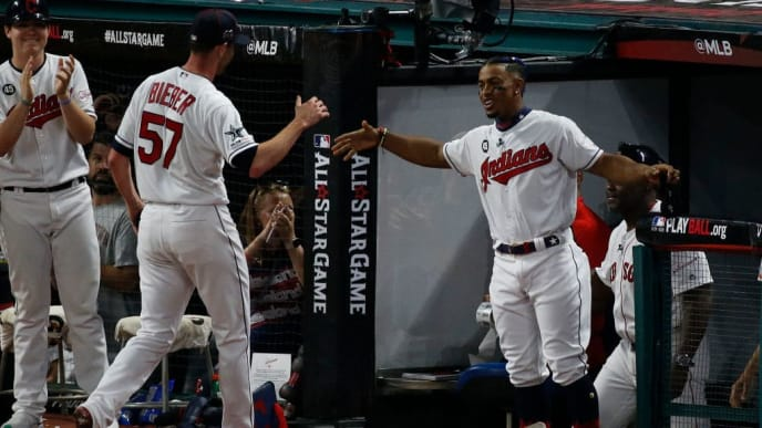 CLEVELAND, OHIO - JULY 09: Shane Bieber #57 and Francisco Lindor #12 of the Cleveland Indians participate in the 2019 MLB All-Star Game at Progressive Field on July 09, 2019 in Cleveland, Ohio. (Photo by Kirk Irwin/Getty Images)