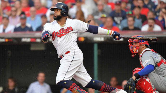 CLEVELAND, OHIO - JULY 09: Carlos Santana #41 of the Cleveland Indians participates in the 2019 MLB All-Star Game at Progressive Field on July 09, 2019 in Cleveland, Ohio. (Photo by Jason Miller/Getty Images)