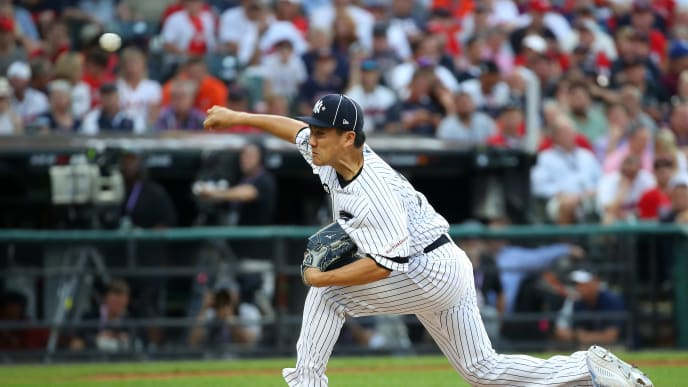 CLEVELAND, OHIO - JULY 09: Masahiro Tanaka #19 of the New York Yankees and the American League pitches during the 2019 MLB All-Star Game, presented by Mastercard at Progressive Field on July 09, 2019 in Cleveland, Ohio. (Photo by Gregory Shamus/Getty Images)