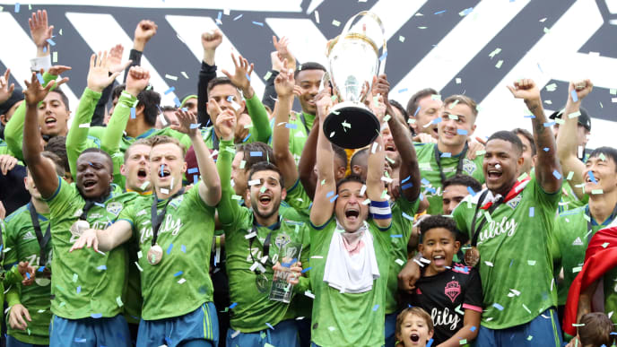 SEATTLE, WASHINGTON - NOVEMBER 10: The Seattle Sounders celebrate after defeating Toronto FC 3-1 to win the 2019 MLS Cup at CenturyLink Field on November 10, 2019 in Seattle, Washington. (Photo by Abbie Parr/Getty Images)