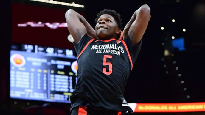 ATLANTA, GA - MARCH 27: Anthony Edwards #5 of Holy Spirit Prep in Georgia dunks during the 2019 McDonald's High School Boys All-American Game on March 27, 2019 at State Farm Arena in Atlanta, Georgia. (Photo by Scott Cunningham/Getty Images)