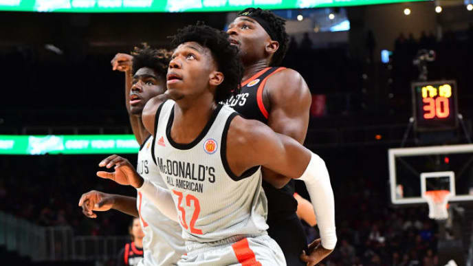 ATLANTA, GA - MARCH 27: James Wiseman #32 of East High School in Tennessee boxes out during the 2019 McDonald's High School Boys All-American Game on March 27, 2019 at State Farm Arena in Atlanta, Georgia. (Photo by Scott Cunningham/Getty Images)