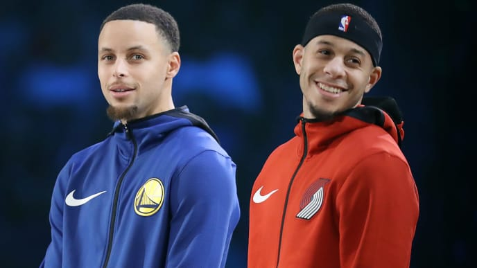 CHARLOTTE, NORTH CAROLINA - FEBRUARY 16: (L-R) Stephen Curry #30 of the Golden State Warriors and Seth Curry #31 of the Portland Trail Blazers look on before the MTN DEW 3-Point Contest as part of the 2019 NBA All-Star Weekend at Spectrum Center on February 16, 2019 in Charlotte, North Carolina. (Photo by Streeter Lecka/Getty Images)