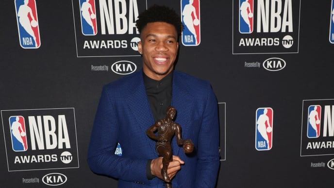 SANTA MONICA, CALIFORNIA - JUNE 24: Giannis Antetokounmpo, winner of the Kia NBA Most Valuable Player award, poses in the press room during the 2019 NBA Awards presented by Kia on TNT at Barker Hangar on June 24, 2019 in Santa Monica, California. (Photo by Joe Scarnici/Getty Images for Turner Sports)