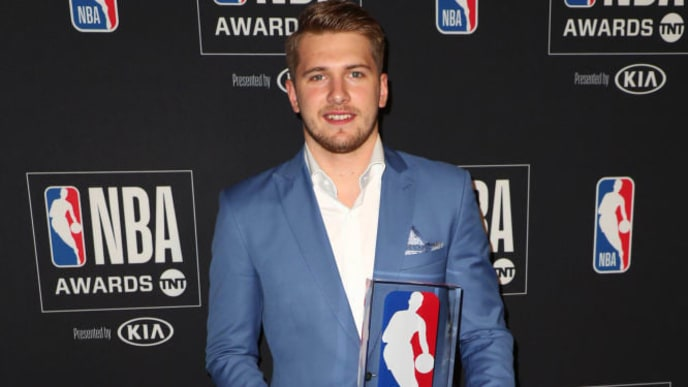 SANTA MONICA, CALIFORNIA - JUNE 24: Luka Dončić, winner of the Kia NBA Rookie of the Year award, poses in the press room during the 2019 NBA Awards presented by Kia on TNT at Barker Hangar on June 24, 2019 in Santa Monica, California. (Photo by Joe Scarnici/Getty Images for Turner Sports)