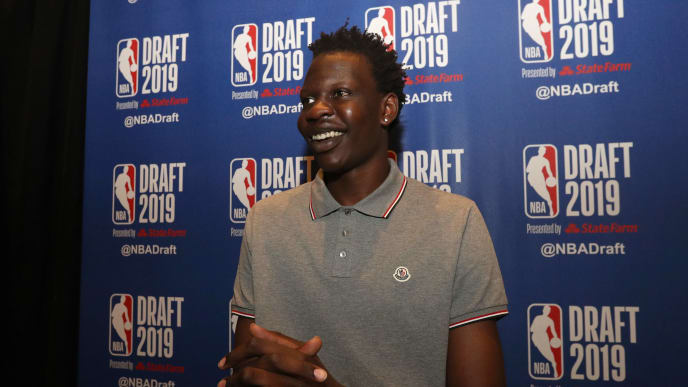 NEW YORK, NEW YORK - JUNE 19: Bol Bol speaks to the media ahead of the 2019 NBA Draft at the Grand Hyatt New York on June 19, 2019 in New York City. NOTE TO USER: User expressly acknowledges and agrees that, by downloading and or using this photograph, User is consenting to the terms and conditions of the Getty Images License Agreement. (Photo by Mike Lawrie/Getty Images)