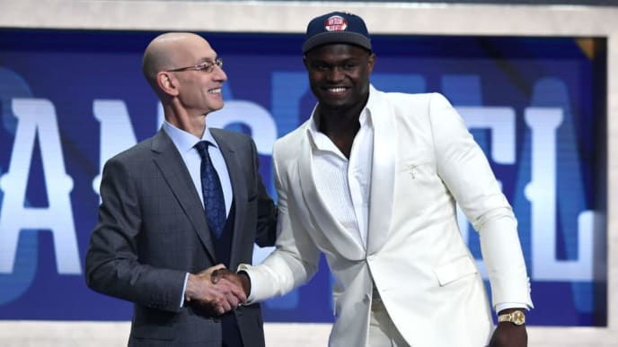 NEW YORK, NEW YORK - JUNE 20: Zion Williamson poses with NBA Commissioner Adam Silver after being drafted with the first overall pick by the New Orleans Pelicans during the 2019 NBA Draft at the Barclays Center on June 20, 2019 in the Brooklyn borough of New York City. NOTE TO USER: User expressly acknowledges and agrees that, by downloading and or using this photograph, User is consenting to the terms and conditions of the Getty Images License Agreement. (Photo by Sarah Stier/Getty Images)