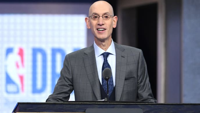 NEW YORK, NEW YORK - JUNE 20: NBA Commissioner Adam Silver speaks during the 2019 NBA Draft at the Barclays Center on June 20, 2019 in the Brooklyn borough of New York City. NOTE TO USER: User expressly acknowledges and agrees that, by downloading and or using this photograph, User is consenting to the terms and conditions of the Getty Images License Agreement. (Photo by Sarah Stier/Getty Images)