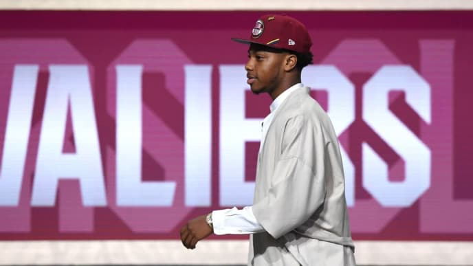 NEW YORK, NEW YORK - JUNE 20: Darius Garland reacts after being drafted with the fifth overall pick by the Cleveland Cavaliers during the 2019 NBA Draft at the Barclays Center on June 20, 2019 in the Brooklyn borough of New York City. NOTE TO USER: User expressly acknowledges and agrees that, by downloading and or using this photograph, User is consenting to the terms and conditions of the Getty Images License Agreement. (Photo by Sarah Stier/Getty Images)