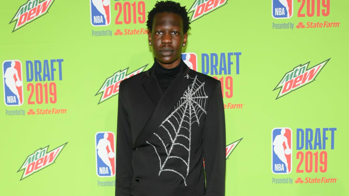NEW YORK, NEW YORK - JUNE 20: Basketball player Bol Bol attends the 2019 NBA Draft at Barclays Center on June 20, 2019 in New York City. (Photo by Mike Coppola/Getty Images)