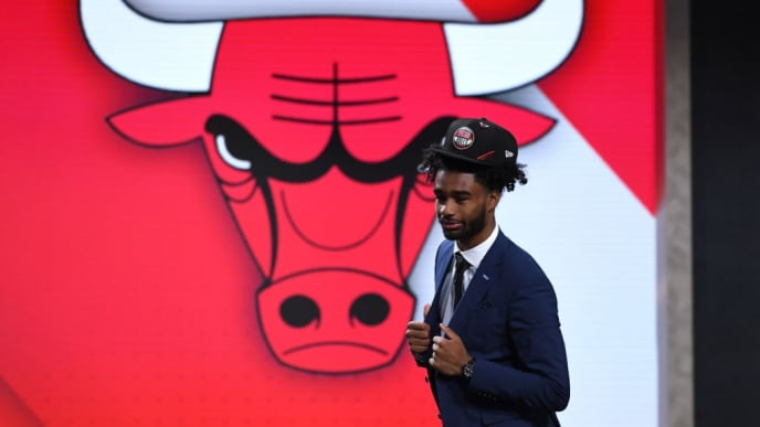 NEW YORK, NEW YORK - JUNE 20: Coby White reacts after being drafted with the eighth overall pick by the Chicago Bulls during the 2019 NBA Draft at the Barclays Center on June 20, 2019 in the Brooklyn borough of New York City. NOTE TO USER: User expressly acknowledges and agrees that, by downloading and or using this photograph, User is consenting to the terms and conditions of the Getty Images License Agreement. (Photo by Sarah Stier/Getty Images)