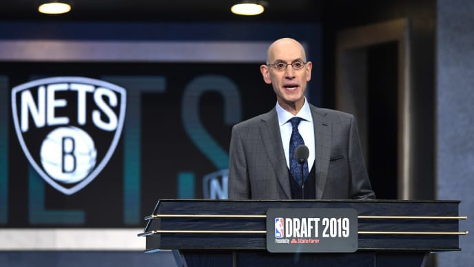 NEW YORK, NEW YORK - JUNE 20: NBA Commissioner Adam Silver prepares to announce a pick by the Brooklyn Nets during the 2019 NBA Draft at the Barclays Center on June 20, 2019 in the Brooklyn borough of New York City. NOTE TO USER: User expressly acknowledges and agrees that, by downloading and or using this photograph, User is consenting to the terms and conditions of the Getty Images License Agreement. (Photo by Sarah Stier/Getty Images)